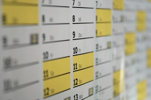 A close up of a calendar.