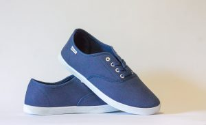 A pair of blues shoes.