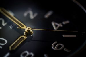 A close-up of a clock