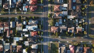 Suburban neighborhood from a bird's perspective