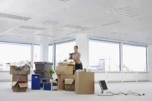Boxes in Empty Office Space